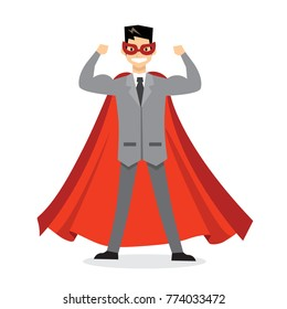 Vector illustrations in flat design of businessman Superhero with the red cloak.