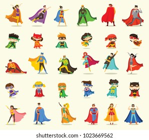Vector illustrations in flat design of female, male and children superheroes in funny comics costume