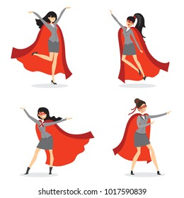 Vector illustrations in flat design of set of businesswomen Superheroes with the red cloak.