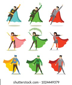 Vector illustrations in flat design of set of business , eco and classic Superheroes