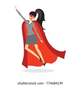 Vector illustrations in flat design of set of businesswoman Superhero with the red cloak.