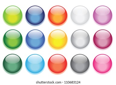 vector illustrations of glossy glass buttons for icons.