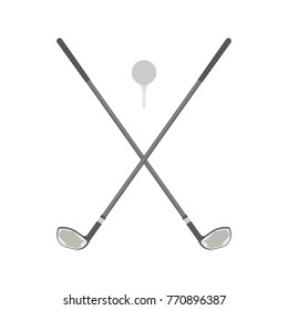 Vector illustrations. Golf clubs with ball.