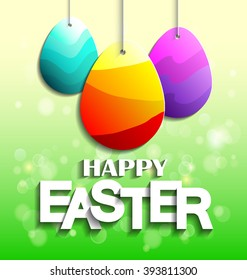 Happy easter greeting card low poly stock vector 613157087 vector illustrations of greeting easter card with hanging patterned eggs easter eggs background easter m4hsunfo Choice Image