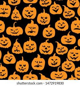 Vector illustrations of Halloween funny horror pumpkin pattern seamless on black background