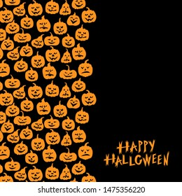 Vector illustrations of Halloween funny horror pumpkin greeting card vertical ornament on black background