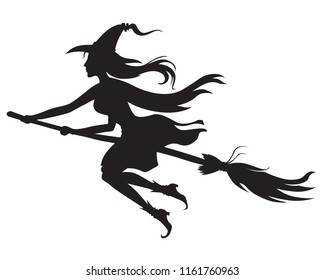 Vector illustrations of Halloween silhouette witch with hat on broom fly