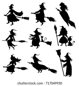 Vector illustrations of Halloween silhouette witch with hat and broom set