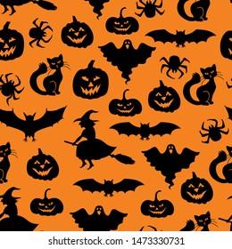 Vector illustrations of Halloween symbols pattern seamless on orange background