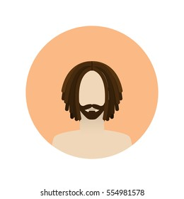 Vector illustrations of handsome man with dreadlocks. Avatar icon.