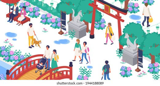 Vector illustrations of hydrangea-blooming shrines and people's living landscapes (isometric)