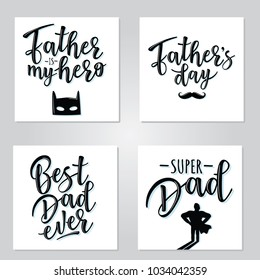 Vector illustrations for invitation, congratulation or greeting cards. Poster set for Father's day, typography design, lettering