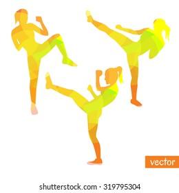 Vector illustrations of kickboxing women. Bright silhouettes of slim girls doing kicks.