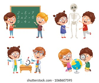 Vector Illustrations Of Kids Having Science Lessons