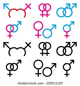 Vector Illustrations of male and female sex symbol in colour and black and white