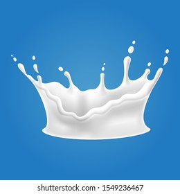 Vector illustrations of milk splash and pouring, realistic natural dairy products, yogurt or cream, isolated on blue background.