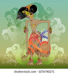 Vector illustrations, modified Puntadewa wayang characters one of the five pandawa warriors in the mahabharata story.