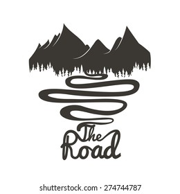Vector illustrations with mountains, forest and road. Inspirational and motivational poster