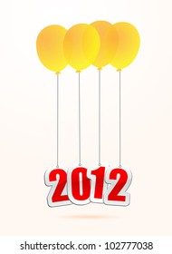 vector illustrations of new year greetings for 2012, hanging on balloons.