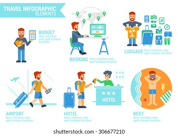 Vector illustrations of: man with moneybox, man is booking tickets, man is packing luggage, man in airport, man check-in at hotel, man has rest on beach. Flat style. Travel infographic.