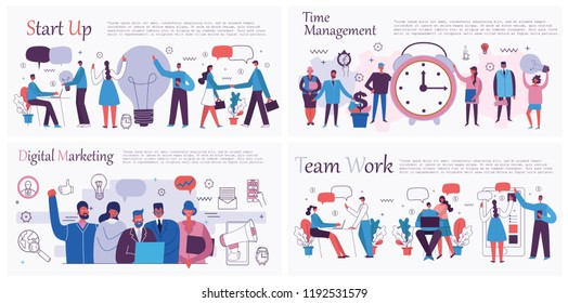 Vector illustrations of the office concept business people in the flat style. E-commerce, time management, start up, digital marketing and mobile advertising business concept.