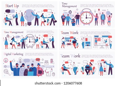 Vector illustrations of the office concept business people in the flat style. E-commerce, time management, start up, digital marketing and mobile advertising business concept. - Shutterstock ID 1206077608