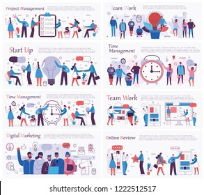 Vector illustrations of the office concept business people in the flat style. E-commerce, time and project management, start up, digital marketing and mobile advertising business concept.