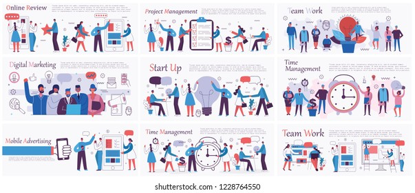 Vector illustrations of the office concept business people in the flat style. E-commerce, time and project management, start up, digital marketing and mobile advertising business concept. - Shutterstock ID 1228764550