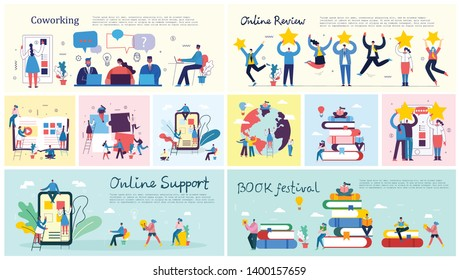 Vector illustrations of the office concept business people in the flat style. Save the planet, online education, project management, book festival, digital marketing and mobile business concept