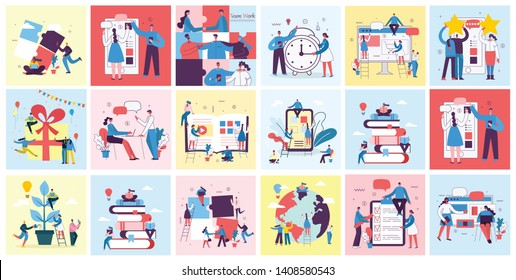 Vector illustrations of the office concept business people in the flat style. E-commerce, online education, project management, online support, start up business concept