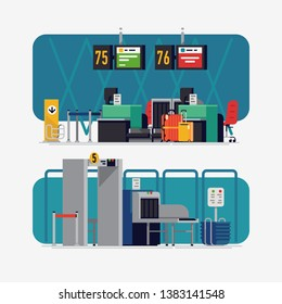 Vector illustrations on airport check-in desk and security line with X-ray in trendy flat design. Ideal for travel themed banners, posters and social media content