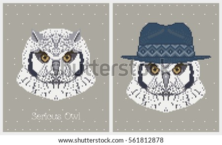 ae8d376bbe7 Vector illustrations of owl in a hat. Set of cute posters with bird. Can