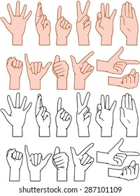 Vector illustrations pack of universal gestures of hands