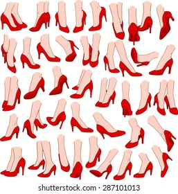 Vector illustrations pack of woman feet wearing red high heel in various gestures.