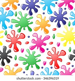 Vector illustrations of pattern seamless of multicolor paints drops and blots