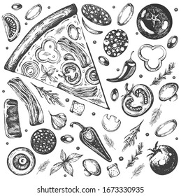 Vector illustrations with pizza set