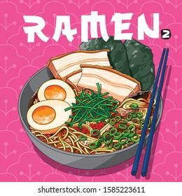 Vector illustrations of Ramen bowl Japanese noodle soup with chopsticks