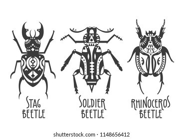 Vector illustrations of rhinoceros, soldier   and stag beetles decorated with ethnic patterns.