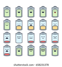 Vector illustrations set of battery with emotions on white background. Emoji and smiles topic.