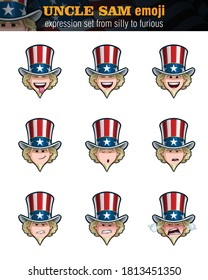 Vector illustrations Set of cartoon Uncle Sam Emoji. Nine expressions, silly, laughing, happy, smiling, preaching, serous, unamused, angry n furious. Elements on well-defined layers n groups