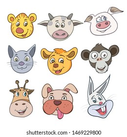Vector illustrations set of cute animal face.The image is freely separated from the white background.