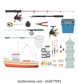 Vector illustrations set of equipment and tools for fishing on white background. Fishing equipment and fish farming topics.