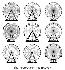 Vector illustrations set. Ferris wheel. Carnival. Funfair background.