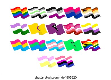 Vector illustrations set of the LGBT flags on white background.