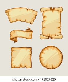 Vector illustrations set of medieval retro Yellowish Blank Scrolls isolate on white background.