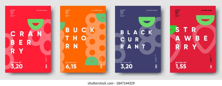 Vector illustrations. Set of minimalistic fruit posters or price tags. Strawberry, blackcurrant, buckthorn, cranberry.