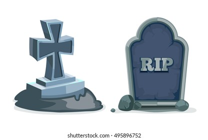 vector illustrations set of Old gravestones with cracks. Pictures isolate on white background. ancient RIP.