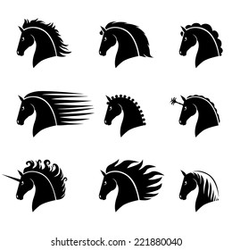 Vector illustrations set of silhouette of a beautiful horse head with different manes