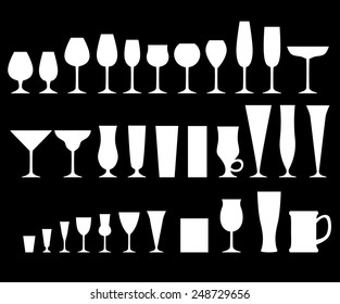 Vector illustrations set of silhouette of glass glasses for different drinks on black background