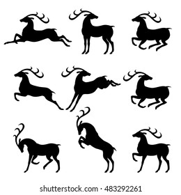 Vector illustrations of set silhouettes beautiful horned deer in different poses isolated on white background